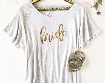 Bride Shirt Bride to Be Shirt Bride Tshirt Bride T Shirt Bride Shirt Off the Shoulder Bride Gift Ideas (EB3202BP) Loose Fit