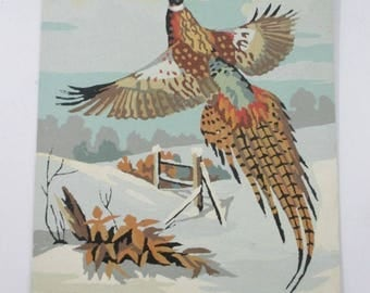 Pheasant in Winter Paint By Number, Pheasant Taking Flight, Pheasant Hunt, Wall Decor, Sportsman's Man Cave Art, 1960's