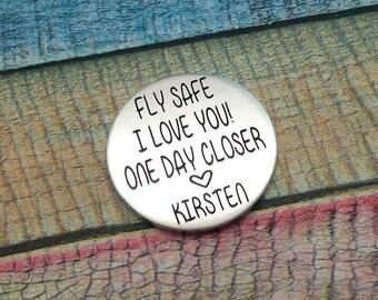 Fly Safe Coin, Flying Gift, Pilot Gift, Pilot coin, Love Token, fly safe pocket coin, gift for pilot, flight school gift, pilot graduation
