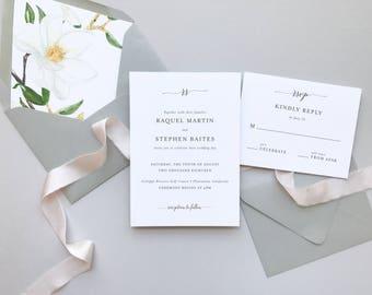 Magnolia Romance Wedding Invitation / Letterpress or Digital Printing / #1133