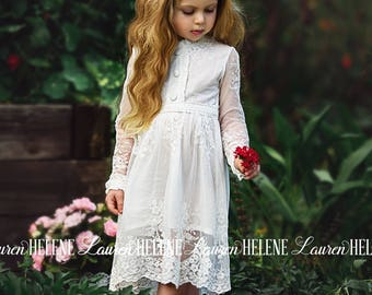 Wisteria White Lace Flower Girl Dress