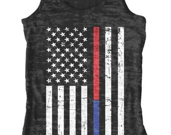 Thin Red & Blue Line American Flag Women's Burnout Racerback Tank Top Police Officer Firefighter Department Pride Serve Protect
