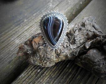 Black ring, black onyx ring,boho ring, size 7 3/4 ring, gypsy ring, black onyx rings, large ring, black rings, teardrop ring,black rings,