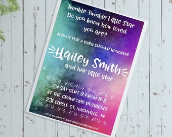 Twinkle Star Baby Shower Invite-Galaxy Baby Shower-Space themed Baby Shower-Baby Shower Digital Invite-Personalized Baby Shower Invite