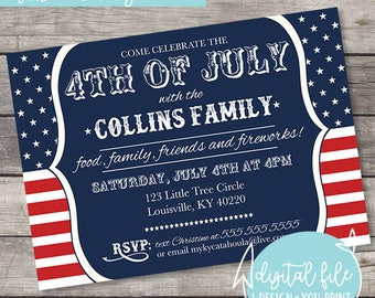 Fourth of July, Independence Day, Memorial Day, Labor Day Celebration/Party Invitation