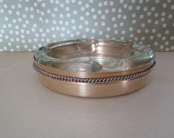Vintage Glass Ashtray with Brass Cover