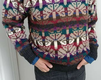 Mens Hipster Vintage 80s Pure Wool Jacquard Sweater -Size M/ L  - Multi Colors Geometric Allover Pattern Winter Pullover - Fashion Preppy