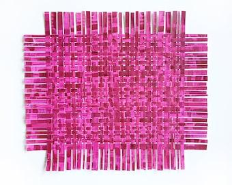 Pink Yarrow Paper Weaving- Handpainted Paper Art- 17x14- Colorful Abstract- Magenta - Pantone 2017
