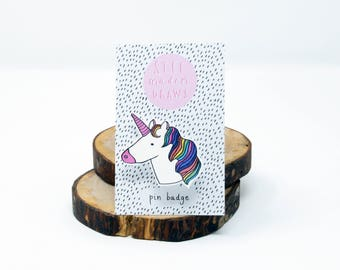Rainbow Unicorn brooch pin badge