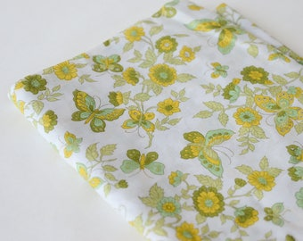 BTY 1960s Cotton Butterfly Novelty Fabric Yellow Green Print  -145-L5