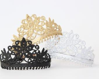 Eva Lace Princess Tiara Crown Headband - CHOOSE COLOR - Tiara - Birthday - Flower Girl - Bridesmaid - Photo Prop - All Ages