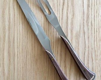 Vintage carving knife and fork set mid century modern wood handle made in Japan