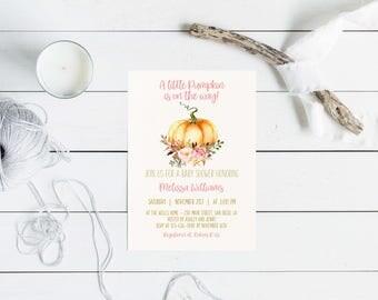 Little Pumpkin Fall Baby Shower Invitation Printable, Autumn Invite, Pumpkin, Watercolor, Baby Girl Shower.