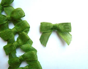 Jute green small bows lot (12), 3 inch pre-tied, eco-friendly bows, jute green gift bows, wedding green bows, green party jute bows