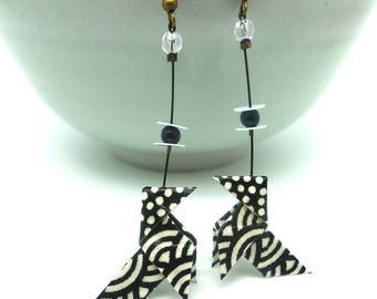 """Black and white"" paper cranes origami earrings Japanese washi origami earrings"