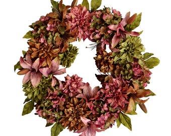 Hydrangea, Dahlia & Lily Wreath | Summer Wreath | Front Door Wreaths | Housewarming Gift | Summer Door Wreath | Outdoor Wreath |