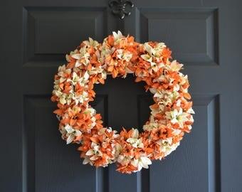 Orange & White Lily Wreath | Front Door Wreaths | Spring Wreath | Easter Wreath | Wedding Wreath Decor | Wreaths | Spring Wreaths