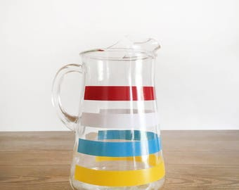 Vintage Striped Pitcher - Colorful Mid-Century Water Pitcher or Drink Pitcher