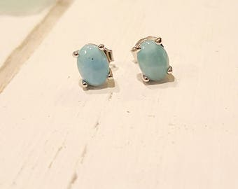 Oval Larimar Stud Earrings with  925 Sterling Silver  - Dominican Larimar - Calming Stone