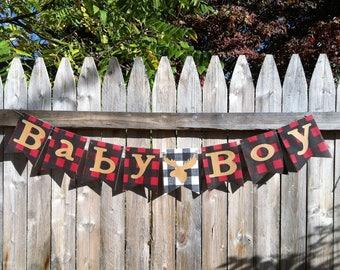 Lumberjack Baby Shower - Lumberjack Banner - Its A Boy - Lumberjack Birthday - Woodland Baby Shower - Camping Baby Shower - Gender Reveal