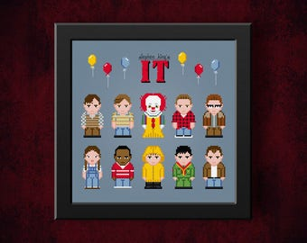 It Modern Cross Stitch Pattern   Horror Movie Cross Stitch Charts   Pennywise   Stephen King   Clown Cross Stitch, Movie Characters Balloons