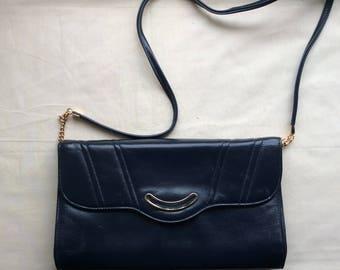 Vintage 70s navy blue bag, 1970s Jane Shilton shoulder/clutch bag