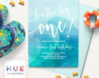 the big one 1st birthday invitation, blue wave boys first birthday invitation, blue ombre watercolor surfing beach ocean waves digital file