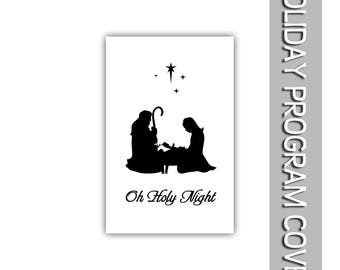 "Christmas Oh Holy Night with Mary & Joseph and Manger program cover 8.5""x11"""
