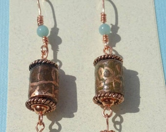 Handmade Etched Copper Pipe Earrings with Amazonite Beads.  Amazonite & Copper Earrings.  Patina Earrings. Rustic Earrings