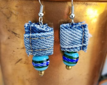 Unique Recycled Denim Nubs with Recycled Blue & Green Beads