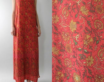 Vtg 90s Rayon THISTLE Print Sleeveless Maxi Gypsy Boho Dress M