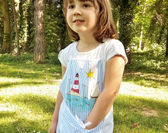 Summer girls apron, kids apron, lighthouse apron, hand painted apron, striped apron, toddlers girl apron, lighthouse painted, children apron