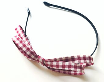 Wine Red Gingham Hettie Headband - Red Gingham - Party headband - Fabric Bow - Wine Red bow - Big bow - Blair Waldorf - Gingham Headband