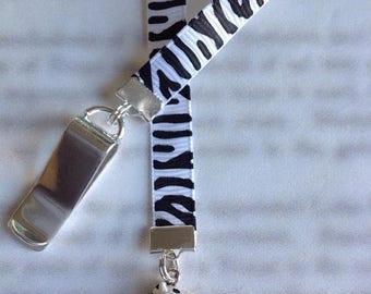 ON SALE Zebra Bookmark / Zebra Lover gift / Cute Bookmark - Attach to book cover then mark the page with the ribbon. Never lose your bookmar