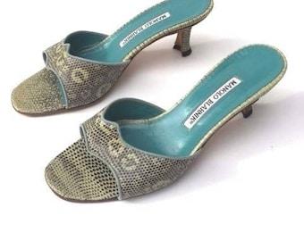 Manolo Blahnik green snakeskin open toe slides in size 36 EU or size 6 US