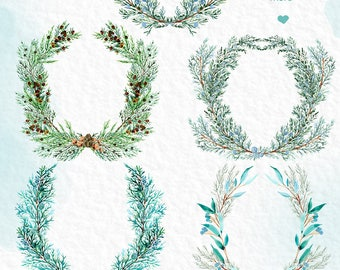 Cypress  Wreaths, Header, arrangements. Watercolor clip art hand drawn. Winter watercolor, lmint green branches, wedding invitation.