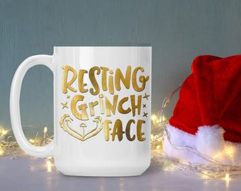 Funny Grinch Mug, Resting Grinch Face Christmas Coffee Cup, Holiday Tea Cup, Funny and Humorous Mug, Coffee Lover Gift Idea, Tea Cup Mug