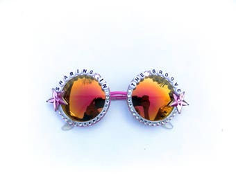 """Phish """"Sharing In The Groove"""" embellished sunglasses, hand decorated novelty sunglasses, Phish Mike's Song Weekapaug Groove"""