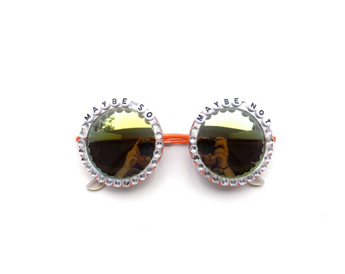 """Phish Stash """"Maybe So, Maybe Not"""" hand decorated Groovy Glasses, funky festival sunglasses perfect for Phish summer tour!"""