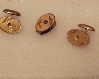 30s Antique Brass Men's Cufflinks and Tie Clasp
