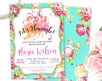 Flamingo Baby Shower Invitation, Let's Flamingle Baby Shower Invite, Flamingo Themed Baby Shower Invitations, Printable / Printed Invites