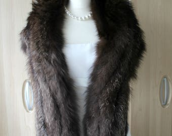 Vintage Very Large Real Silver Black Fox Fur Stole S19