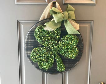 St. Patrick's Day Door Hanger, St Patrick's Day Door Decor, St Patrick's Day Wreath, Green Door Hanger, Clover Door Wreath, Shamrock Wreath