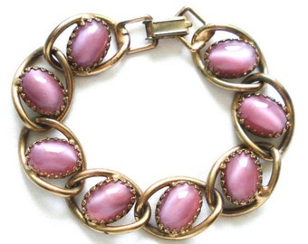 PINK LINK BRACELET Chunky Gold Tone 8 Glass Moonstone Glow Oval Stones Ornate Complex Prongs Settings