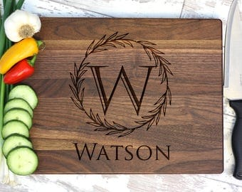 Cutting Board - Personalized Cutting Board - Family Name With Inital