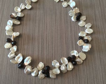 Keishi Pearl Necklace Cornflake Pearl Necklace Keishi Pearl and Smoky Quartz Necklace Petal Pearl Necklace