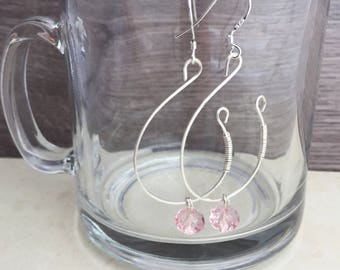 Vintage Earrings, Pink Earrings, Large Earrings, Sterling Silver Earring, Crystal, Pendant, Dangle Earrings, Bridesmaids, Statement Earrings