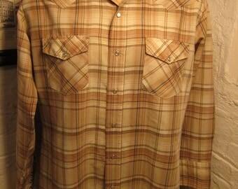 Size XL (50) ** 1970s Tan Plaid Cowboy Shirt