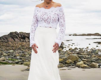 Lace Top, Wedding Lace Top, Silk Maxi Skirt, Bridal Top, Wedding Separates, White Bridal Top, Bridal Separates, Ivory Top,Open Shoulders Top