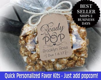 Ready to Pop Baby Shower Favor Kits-3 TAG COLORS | Popcorn favor-20-100 DIY Bags/Favor Tags w/Ribbon or twine | Baby shower Favors-Ft-Rtp110